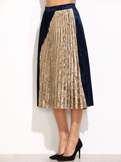 Color Block Pleated Velvet Skirt