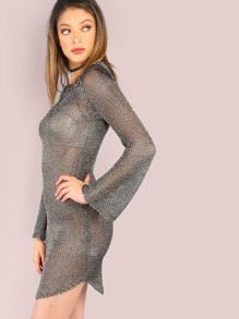 Netted Metallic Sleeved Tunic Dress GUNMETAL
