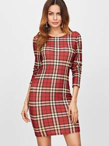 Red Plaid Long Sleeve Bodycon Dress
