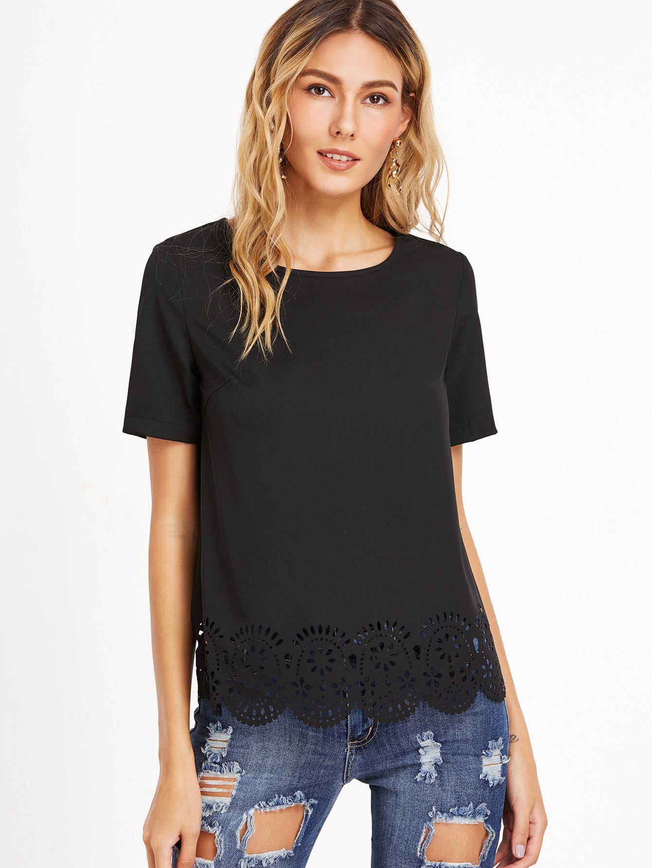 Laser Cutout Scallop Hem Top платье quelle zarina 1020454