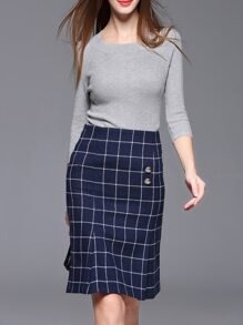 Grey Knit Sweater Top With Plaid Skirt