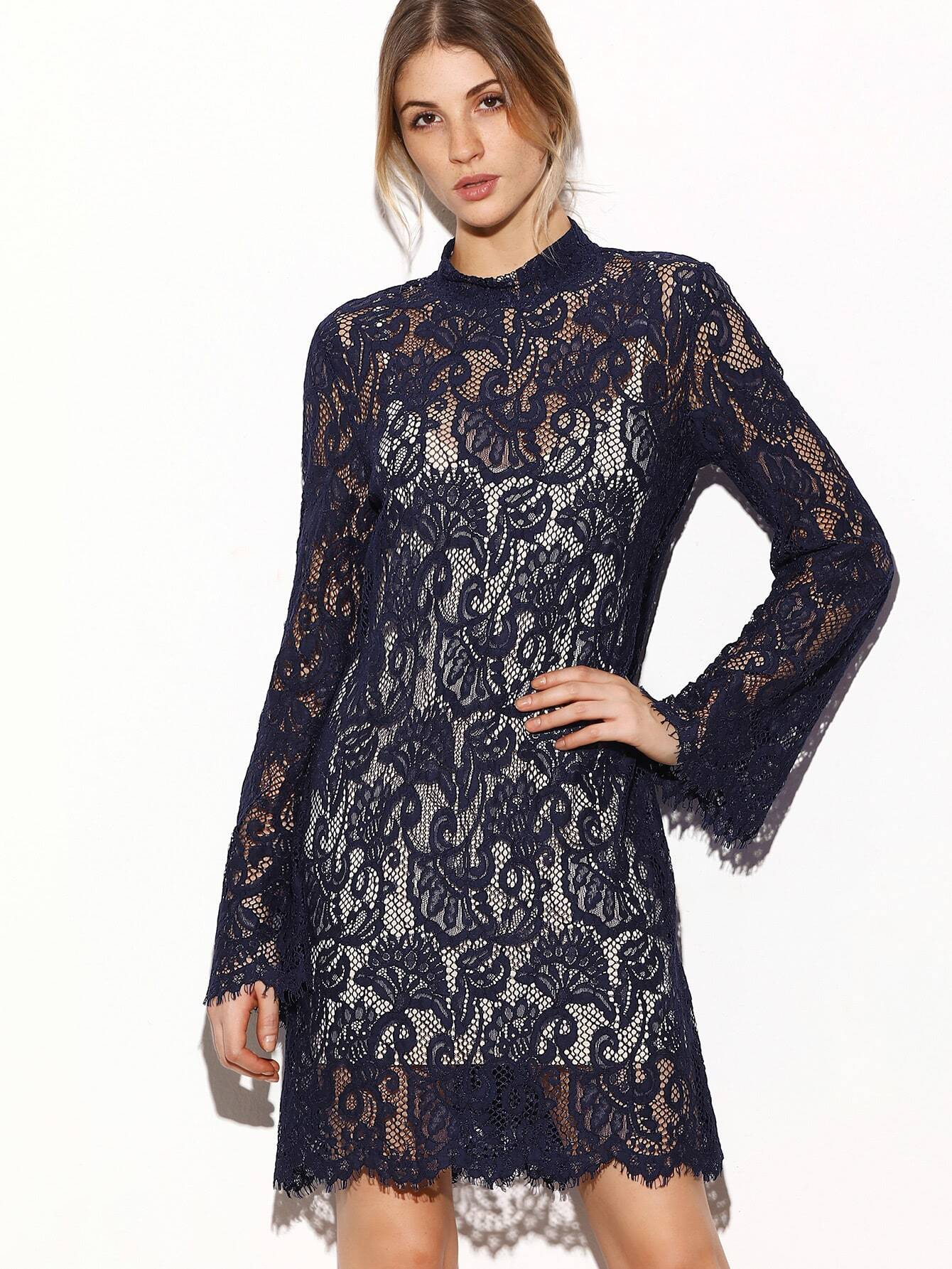 Navy Keyhole Back Floral Lace Dress With Contrast Cami Top