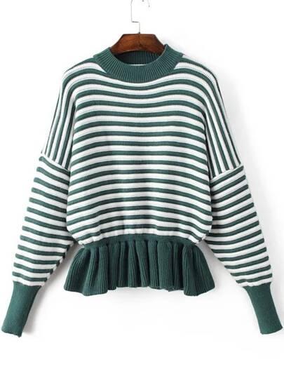 Green Striped Crew Neck Peplum Sweater