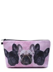 Neceser de maquillaje coméstico portátil con estampado de cabeza de perro - rosa