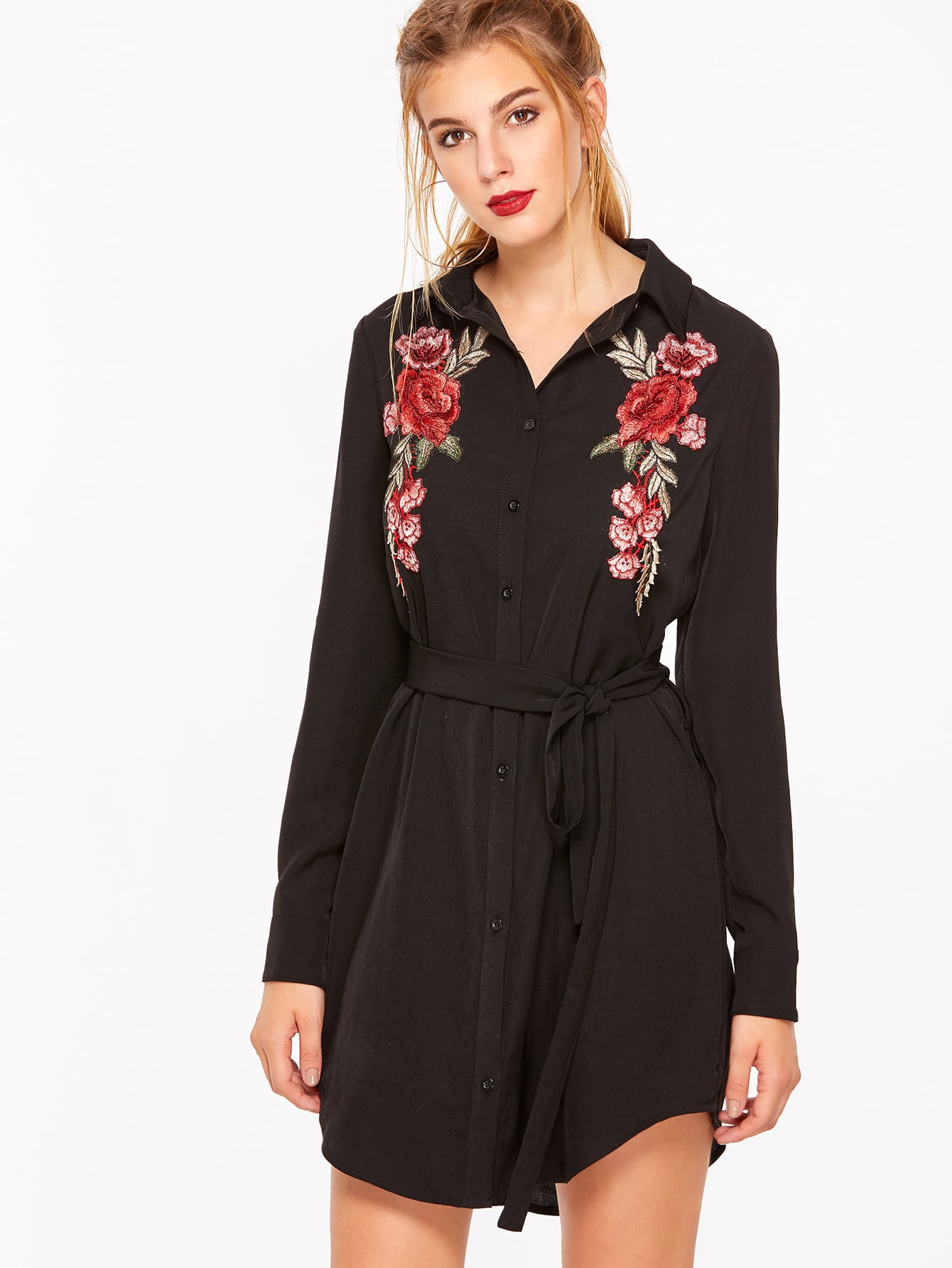 Rose Embroidered Patch Curved Hem Belted Shirt Dress