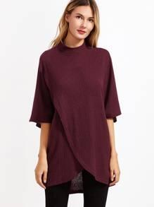 Burgundy Waffle Knit Overlap Front T-shirt