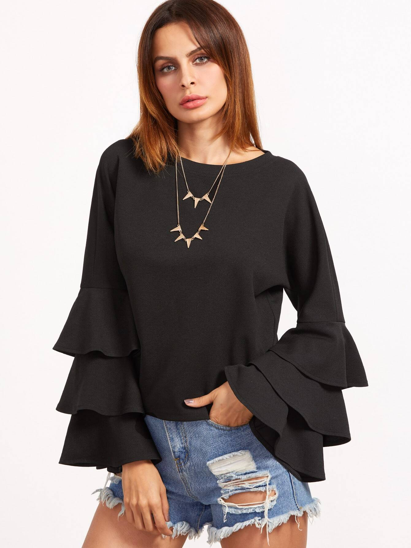 Layered Bell Sleeve Top pearl detail layered bell sleeve ribbed top