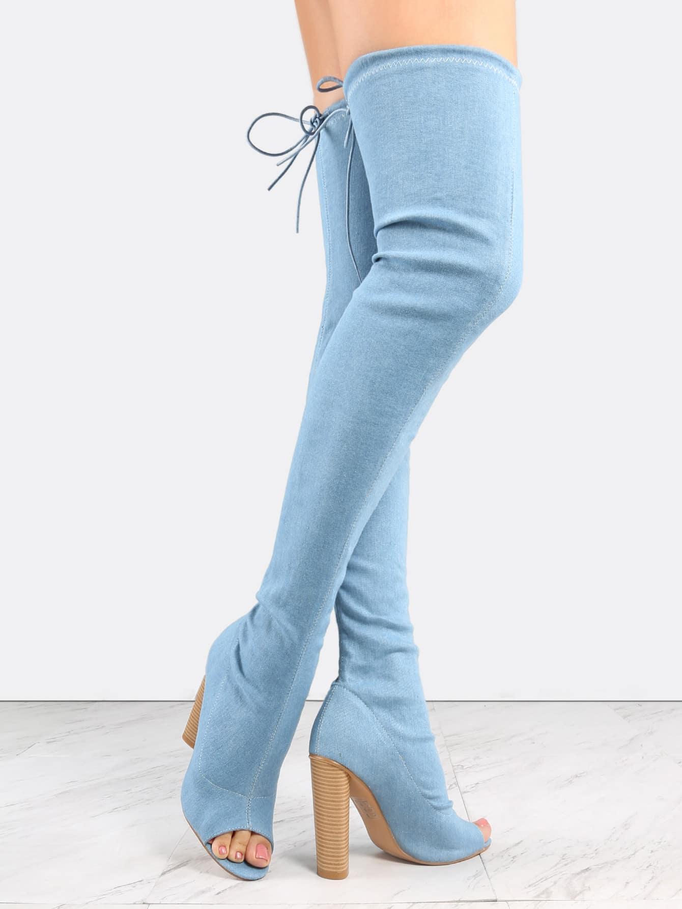 Blue Denim Peep Toe Chunky Heel Over The Knee Boots