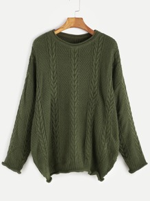 Army Green Cable Knit Drop Shoulder Seam Sweater