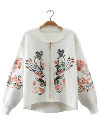 White Embroidery Zipper Up High Low Sweater Coat