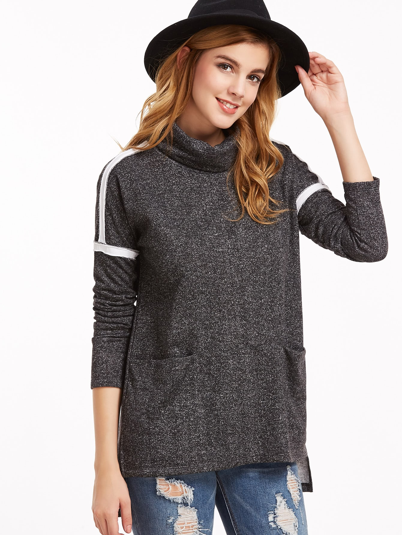 Black Marled Knit Turtleneck Striped Sleeve High Low T-shirtBlack Marled Knit Turtleneck Striped Sleeve High Low T-shirt<br><br>color: Black<br>size: L,M,S,XS