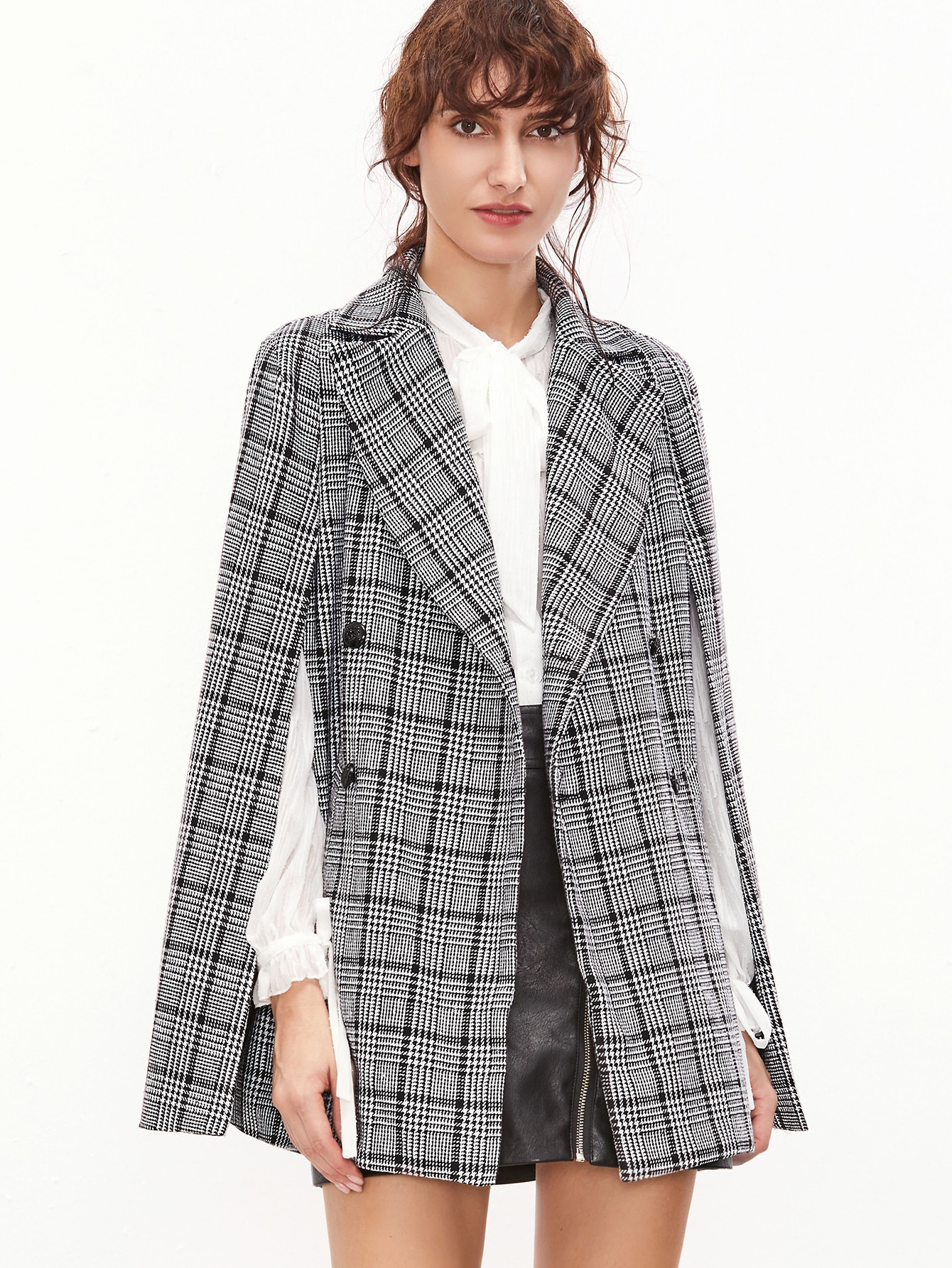 Black and white plaid double breasted cape blazer...