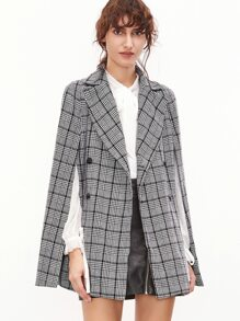 Black And White Plaid Double Breasted Cape Blazer