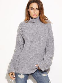 Grey Marled High Neck Ripped Oversized Sweater