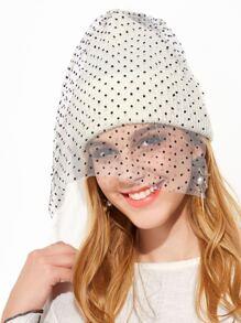 Bonnet contrasté avec Pom-Pom et filet de voile - blanc