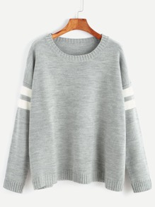 Grey Drop Shoulder Striped Sleeve Sweater