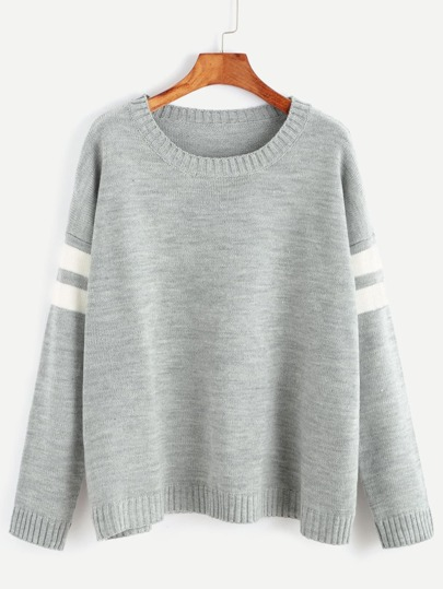 Grey Drop Shoulder Striped Sleeve Sweater