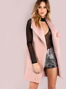 Pink Faux Shearling Oversized Drape Collar Vest