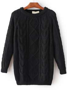 Black Cable Knit Raglan Sleeve Sweater