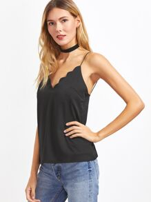 Black Scalloped Trim Strappy Cami Top