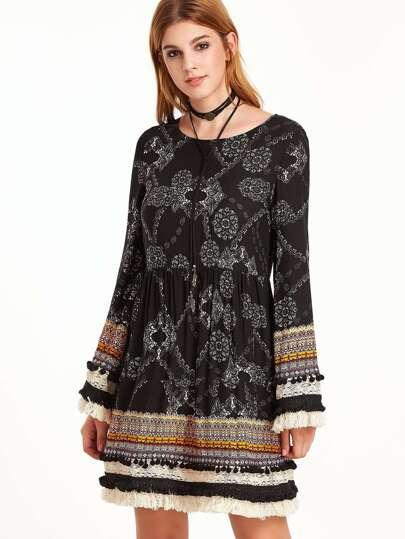 Black Vintage Print Fringe And Pom Pom Trim A Line Dress
