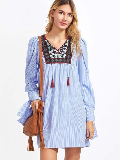 Striped Embroidered Yoke Tie Sleeve Dress