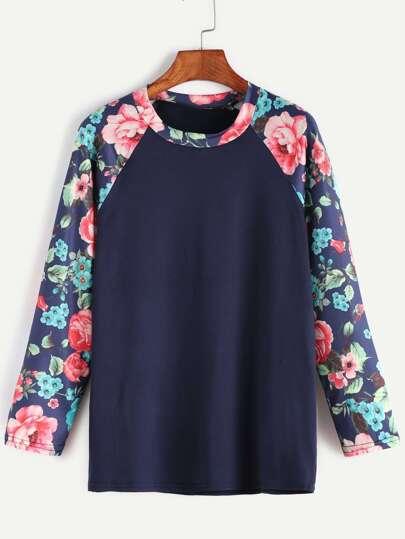Navy Contrast Florals Raglan Sleeve T-shirt