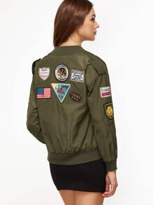 Olive Green Patched Bomber Jacket With Epaulet Detail