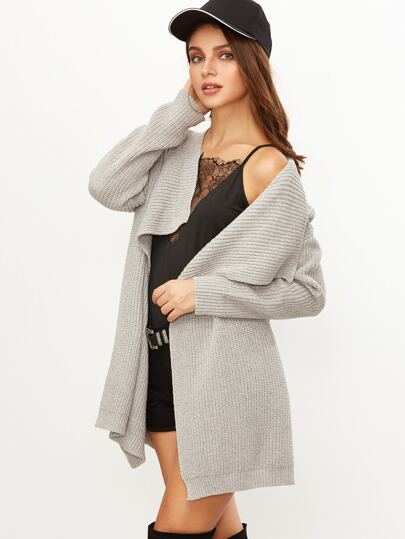 Grey Drop Shoulder Drape Collar Sweater Coat