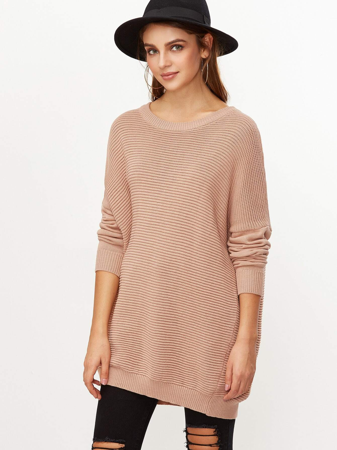 Nude Ribbed Knit Drop Shoulder Oversized Sweater sweater161107466