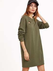 Olive Green Drop Shoulder Distressed Sweatshirt Dress