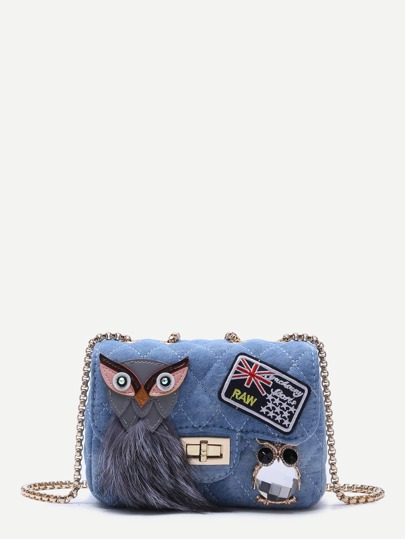 Night Owl Embellished Denim Box Chain Bag