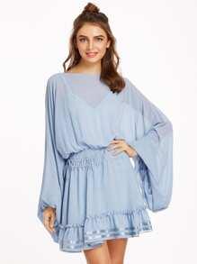 Kleid mit Cami Übergroße Oberteile Tunnelzug Rüschen Saum -blau