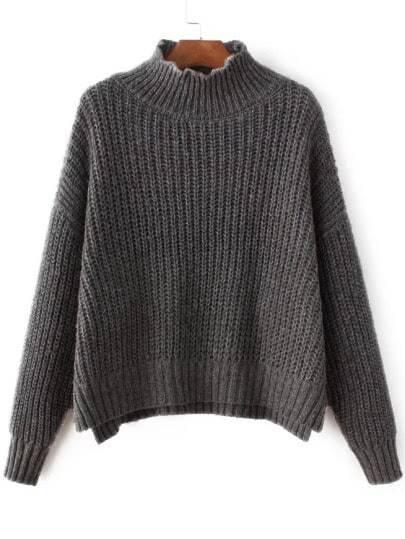 Grey Mock Neck Drop Shoulder Dip Hem Sweater sweater161118202