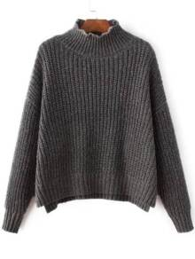 Grey Mock Neck Drop Shoulder Dip Hem Sweater
