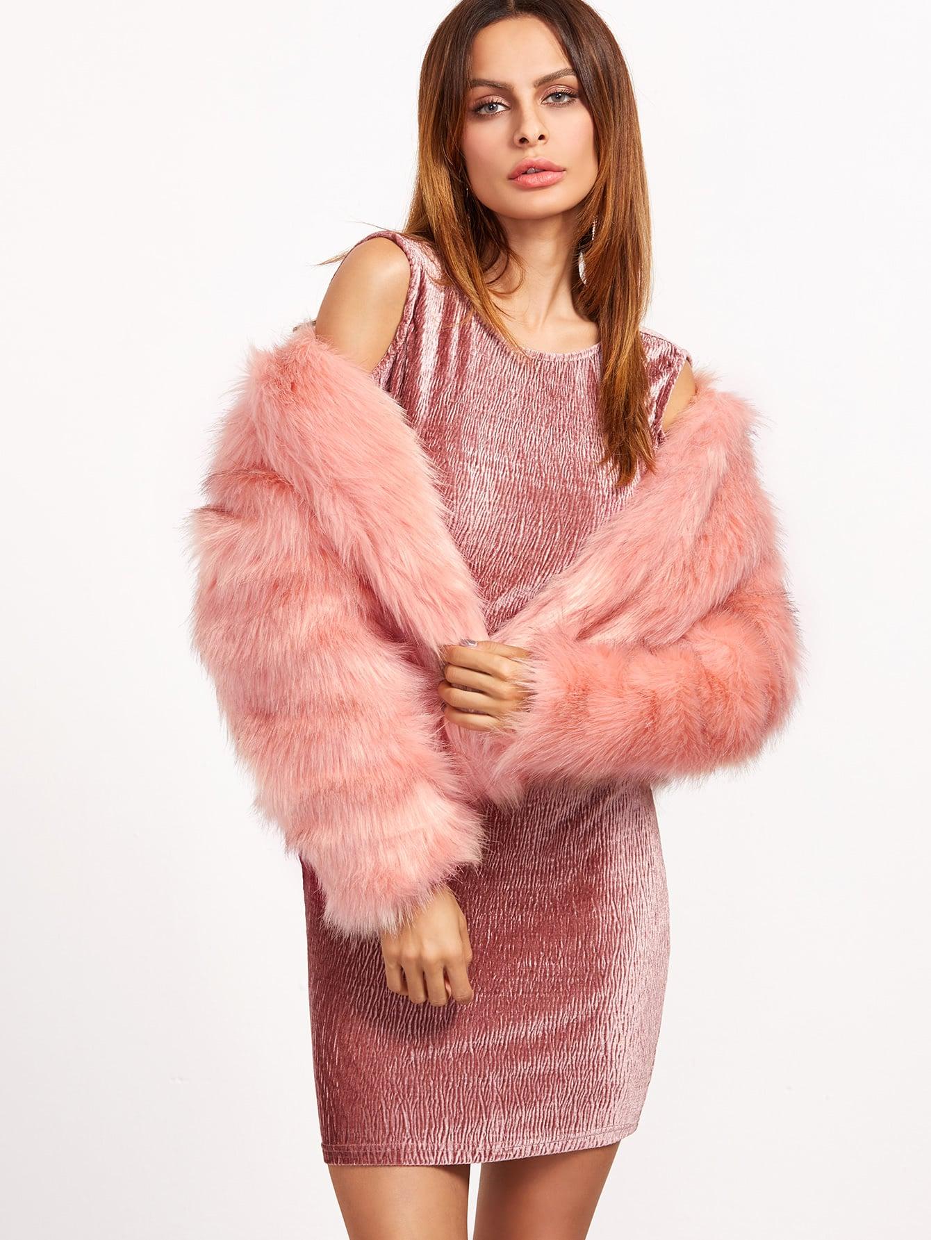 Pink Open Front Faux Fur Coat -SheIn(Sheinside)