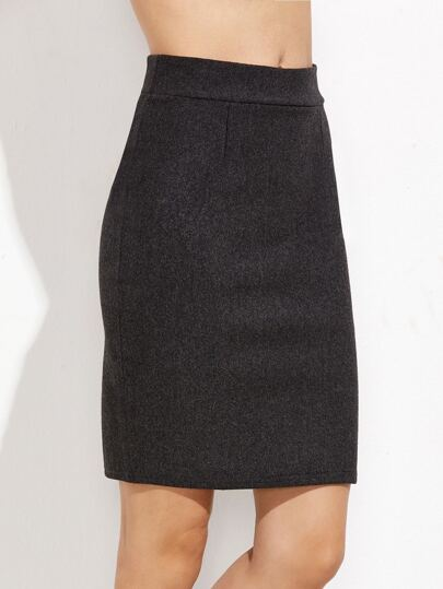 Dark Grey Slit Back Skirt