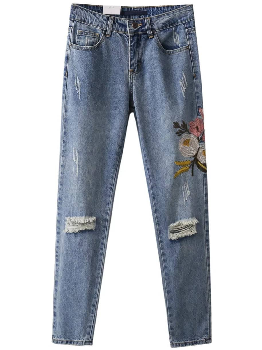 Flower embroidery destroyed jeans shein sheinside