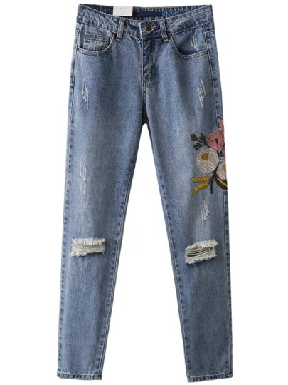Flower Embroidery Destroyed Jeans