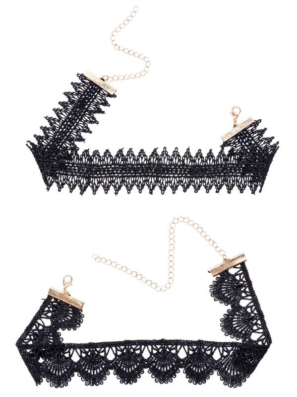 Black Floral Geometric Lace Choker Necklace Set, null