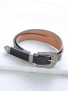 Black Single Carved Buckle Faux Leather Belt
