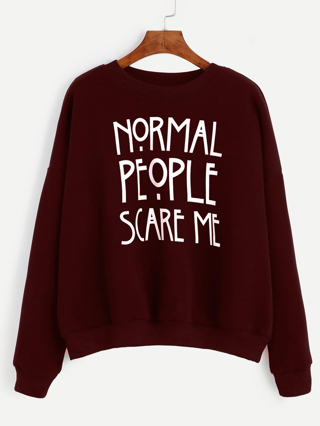 Burgundy Slogan Print Drop Shoulder SweatshirtBurgundy Slogan Print Drop Shoulder Sweatshirt<br><br>color: Burgundy<br>size: L,M,S