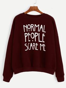 Burgundy Slogan Print Drop Shoulder Sweatshirt