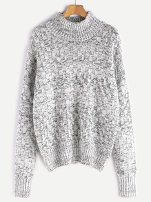 Black And White Marled Square Knit Sweater