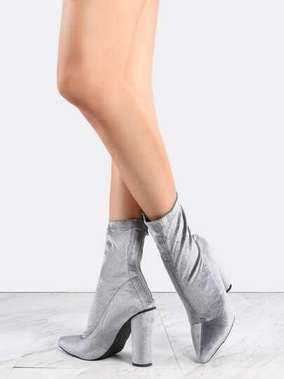 Cylinder Heel Velvet Boots GREY