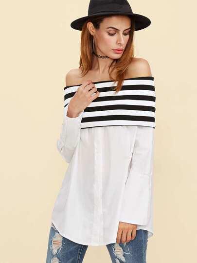 Bluse mit Streifen Knopf Schulterfrei-schwarz und weiß