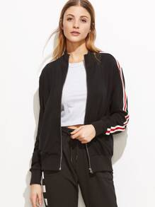 Black Ribbed Trim Striped Sleeve Zip Up Bomber Jacket