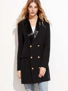 Black Satin Notch Collar Double Breasted Longline Blazer
