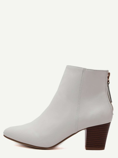 White Point Toe Back Zipper Cork Heel Ankle Boots