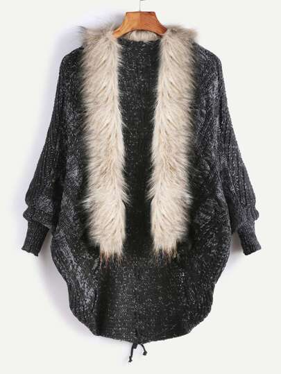 Mantean en laine en fausse fourrure col à lacet au dos -noir